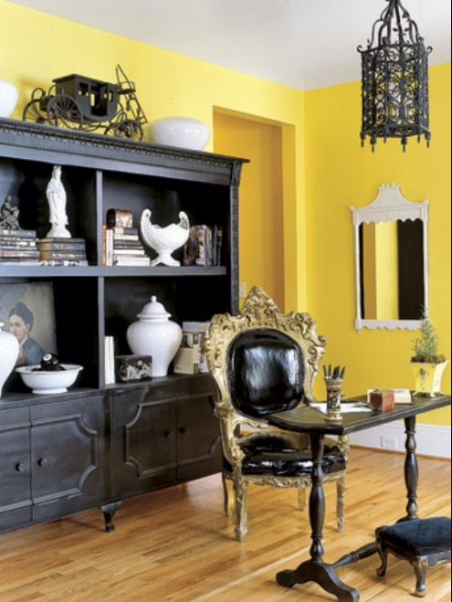 yellow home office decorating ideas