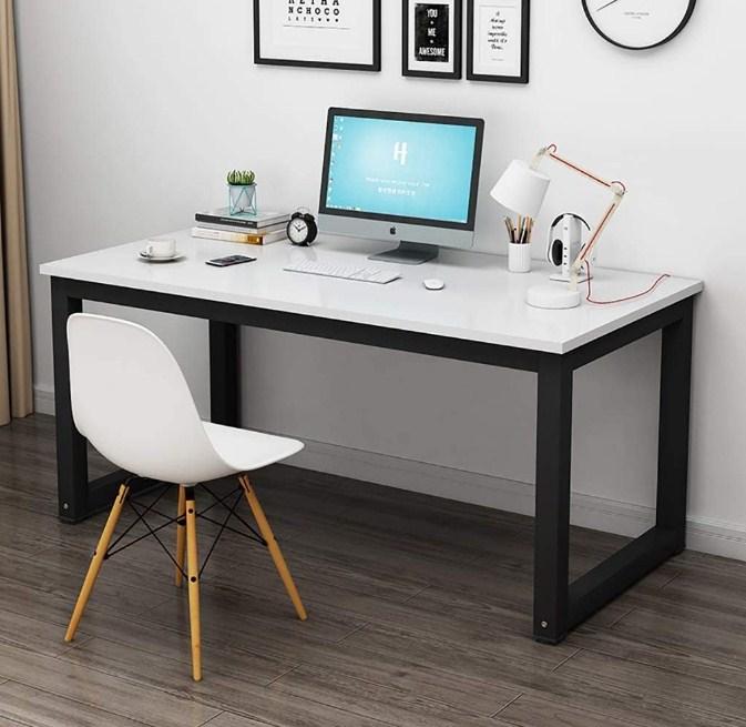 minimalist home office table modern Style Steel Frame Wooden Home Desk