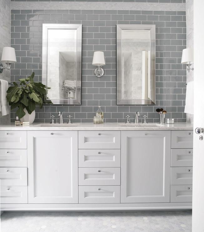 gray subway backsplash polished nickel accents vanity details best bathroom subway tile backsplash