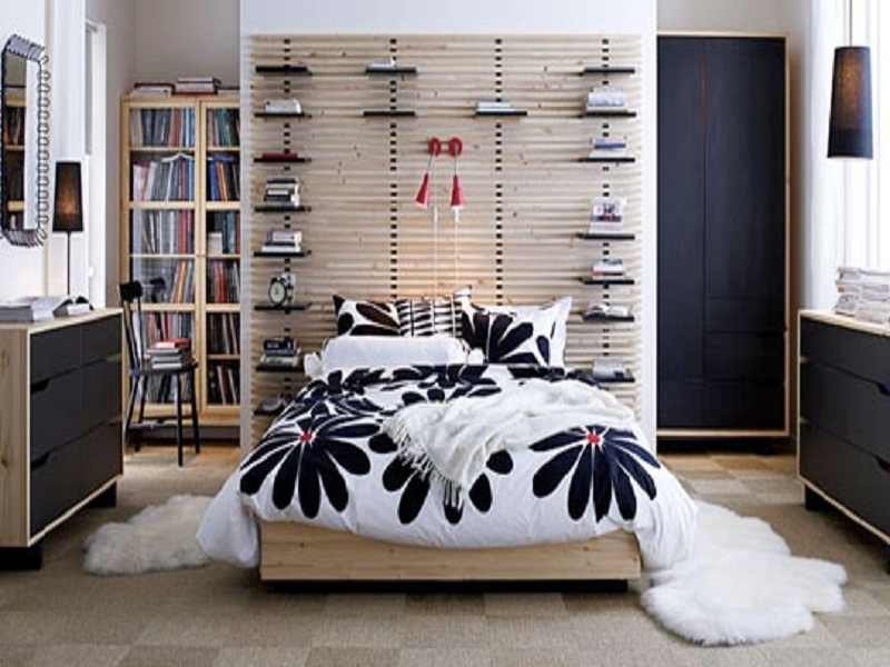 White And Black Bedroom With Ikea Mandal Bed Inexpensive Ikea Design Bedroom